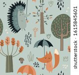 vector seamless pattern with... | Shutterstock .eps vector #1615845601