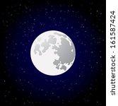 full moon and shining stars on... | Shutterstock .eps vector #161587424