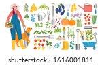 woman farmer with a shovel ... | Shutterstock .eps vector #1616001811