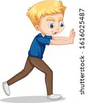 boy pushing wall on isolated... | Shutterstock .eps vector #1616025487