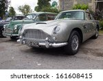 GRANTOWN ON SPEY, SCOTLAND - SEPTEMBER 1: Aston Martin DB5, famous for it's connection with the James Bond movies on September 1, 2013 in Grantown On Spey, Scotland - stock photo
