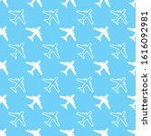 seamless pattern with plane...   Shutterstock .eps vector #1616092981