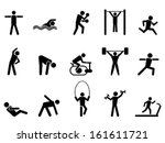 black fitness people icons set | Shutterstock .eps vector #161611721
