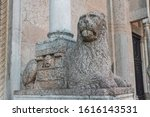 Statue of lion in Piacenza Cathedral (Italian: Duomo di Piacenza or Cattedrale di Santa Maria Assunta e Santa Giustina). It is a Roman Catholic cathedral in Piacenza, Italy.