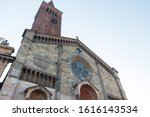 Facade of Piacenza Cathedral (Italian: Duomo di Piacenza or Cattedrale di Santa Maria Assunta e Santa Giustina). It is a Roman Catholic cathedral in Piacenza, Italy.