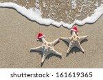 Sea Stars Couple In Santa Hats...