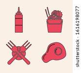 set scrambled eggs  sauce...   Shutterstock .eps vector #1616198077