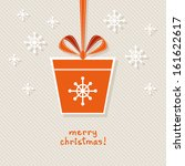 vector christmas gift with red... | Shutterstock .eps vector #161622617