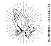 Praying Hand With Sunburst...