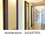 Closeup of a wall with plenty of mirrors - stock photo