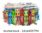 colorful houses by the lake... | Shutterstock . vector #1616405794