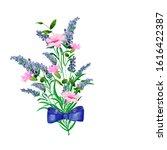 watercolor. bouquet of lavender ... | Shutterstock . vector #1616422387