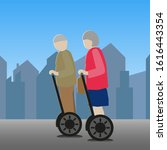 two elderly people on a tour.... | Shutterstock .eps vector #1616443354