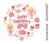 romantic greeting card. hand... | Shutterstock .eps vector #1616520187