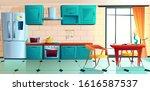 home kitchen  empty interior... | Shutterstock .eps vector #1616587537
