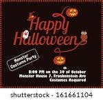 happy halloween poster template ... | Shutterstock .eps vector #161661104