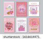 happy valentine's day set cards.... | Shutterstock .eps vector #1616614471