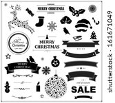 Set Of Vintage Black Christmas Symbols And Ribbons, With Gradient Mesh, Vector Illustration