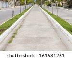 via   cement sidewalk   woman... | Shutterstock . vector #161681261