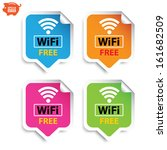 Vector: Sticker or sign, label wifi free with colorful set. Eps10.