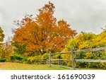 A Wooden Fence And Autumn...