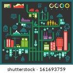 flat style design eco city... | Shutterstock .eps vector #161693759