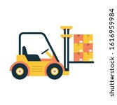 forklift lifted cardboard boxes.... | Shutterstock .eps vector #1616959984