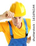 portrait of young builder... | Shutterstock . vector #161696144
