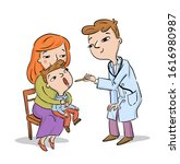 doctor examines child being... | Shutterstock .eps vector #1616980987