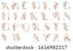 Letters Set  Gold Floral...