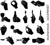 hands with objects collection   ... | Shutterstock .eps vector #161698487