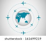 airplanes and globe | Shutterstock .eps vector #161699219