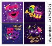 Mardi Gras Masks Hat Drum And...