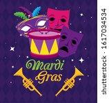 Mardi Gras Masks Trumpets And...