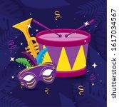 Mardi Gras Mask Trumpet And...