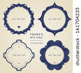 Vector simple framework in Victorian style. Element for design. You can place the text in an empty frame. It can be used for decorating of invitations, greeting cards, decoration for bags and clothes.