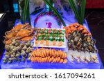 dinner buffet with variety of... | Shutterstock . vector #1617094261