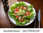 healthy avocado salad with... | Shutterstock . vector #1617096154