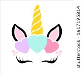 happy unicorn face and hearts...   Shutterstock .eps vector #1617195814