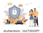happy parents with children.... | Shutterstock .eps vector #1617201097