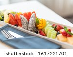 fruit plate on desk in hotel   Shutterstock . vector #1617221701