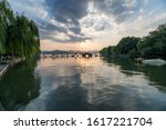 sunset at the hangzhou west lake   Shutterstock . vector #1617221704
