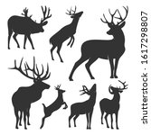 collection of silhouette  deers.... | Shutterstock .eps vector #1617298807