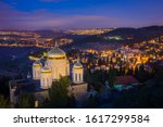 """Gorny/""""Moscovia"""" Convent - Russian Orthodox church in Ein Karem, with night view of neighbourhoods and villages of Jerusalem forest in the Judean hills -  Har Nof, Beit Zait, Moza and Mevaseret Tzion"""