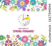 spring forward banner. daylight ... | Shutterstock .eps vector #1617344044