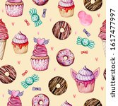 sweets  cupcakes and donuts....   Shutterstock . vector #1617477997