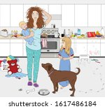 a young busy mother in pajamas... | Shutterstock .eps vector #1617486184