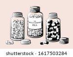 vintage pill bottles vector... | Shutterstock .eps vector #1617503284