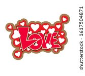 decorative love text with heart.... | Shutterstock .eps vector #1617504871