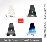 "vector letter ""a"" in the set... 